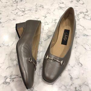 Selby Comfort Flex Silver Metallic Heels 8B Womens